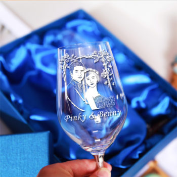 Custom Photo Engraving Lead-free Crystal Glass Personalized Diamond Wine Glass Goblet Set of 2