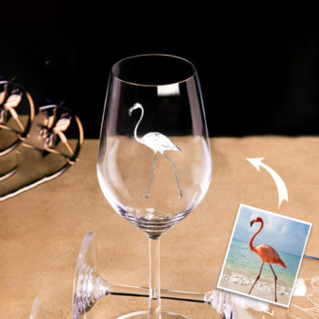 Custom Photo Engraving Lead-free Crystal Glass Personalized Wine Glass Goblet Set of 2