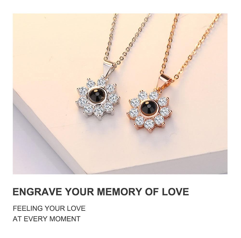 Custom Photo Projection Necklace with Picture Sparkle Flower