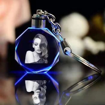 Personalized Photo Keychains LED Octagon Crystal Charm