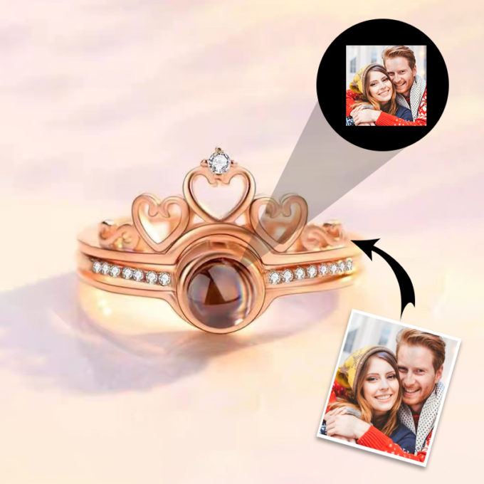 Custom Photo Projection Ring Heart-shaped Ring Anniversary Gifts for Her