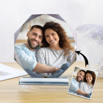Custom Crystal Photo Frame 8cm Personalized Octagon Crystal Stand