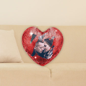 Custom Photo Heart Shaped Magical Sequins Pillowcase Mermaid Sequins Personalized Gift Throw Pillow Cover