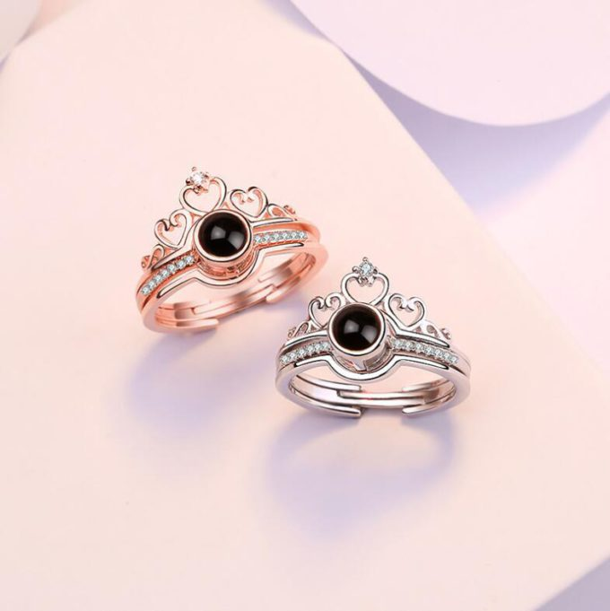 Custom Photo Projection Ring Tiara-shaped Ring Anniversary Gifts for Him