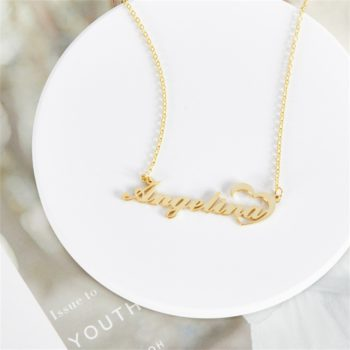 Custom Name Necklace Angelina Love in Heart Pendant