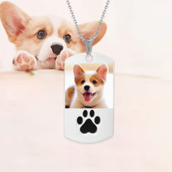 Personalized Pet Photo Necklace for Pet Lovers with Paw
