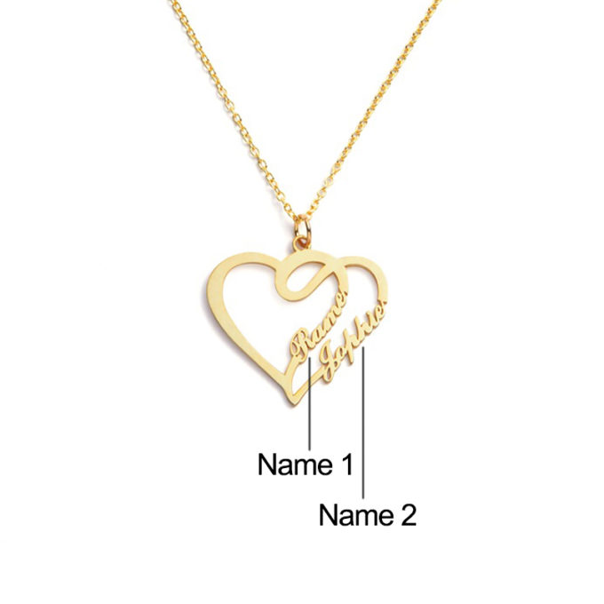 Custom Heart Necklace Personalized 2-Names Pendant