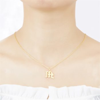 M Necklace Custom Gold Initial Necklace Personalized Letter Pendant Necklace