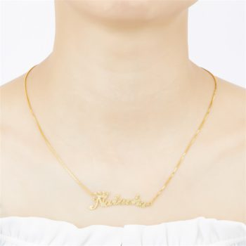 Natacha-LokiCola Custom Gold Name Necklace Frosted Crown Nameplate Necklace