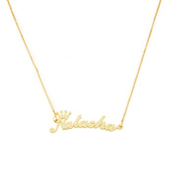 Frosted Crown Nameplate Necklace Custom Name Necklace