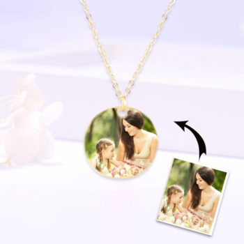 Custom Round Picture Pendant Necklace 14k Gold Pendant Photo Engraved