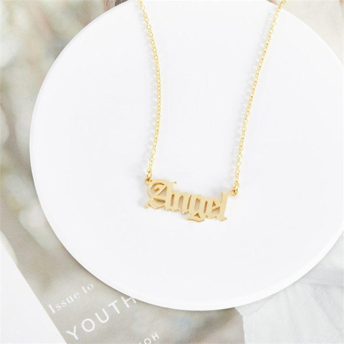 Personalized Name Necklace Custom Angel Name Pendant