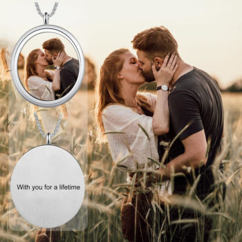 Personalized Photo Pendant Necklace Engraved Names Snake Chain