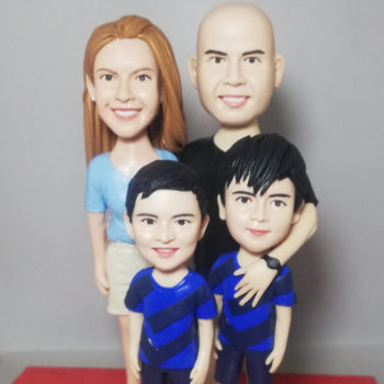 Custom Group of 5 Polymer Clay Figurines Personalized Bobblehead Clay Family Statuettes
