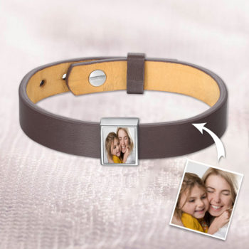 Personalized Photo Bracelet Stainless Steel Photo Frame Brown Leather Charms Bracelet
