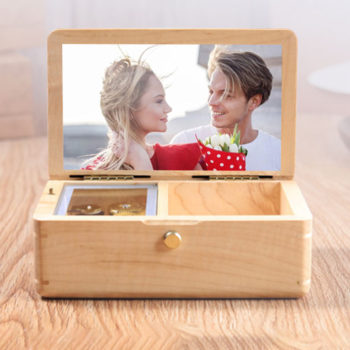 Wood Color Music Box Custom Framed Photo Music Box Jewelry Box Gift for Her