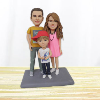 Custom Family of 3 Polymer Clay Figurines Personalized Bobblehead Clay Human Statuettes