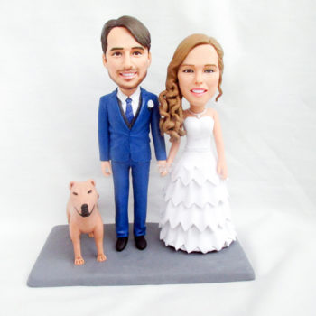 Custom Couple & Pet Polymer Clay Figurines Personalized Bobblehead Clay Family Statuettes