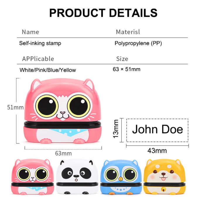 Name Stamp for Clothes Kitten Shaped Personalized Name Stamp Inking Stamp