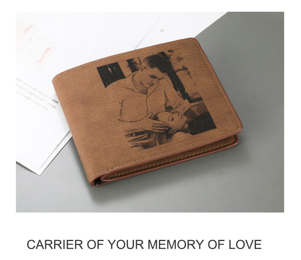 Custom Photo Engraving Wallet Men's Wallet Personalized Leather Wallet