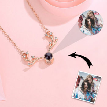 Antlers Custom Picture Projection Necklace Custom Photo Pendant Nano Engraving