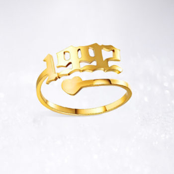 1992 Ring Custom Heart Birth Year Ring Personalized Number Ring Gold Open Ring