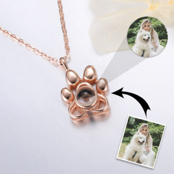 Puppy Paw Custom Photo Projection Necklace Locket with Picture Inside