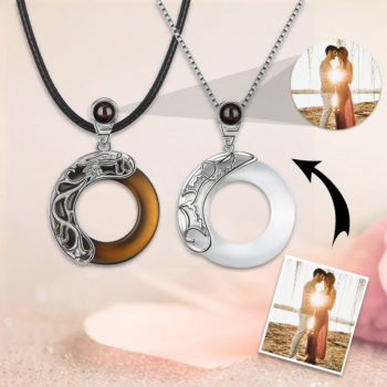 Jade Circle Matching Custom Projection Photo Necklace Couple Necklace