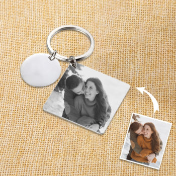 Custom Anniverary Date Carving Key Charm Personalized Photo Engraving Keychain