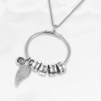 Custom Birthstones 4 Names Engraving Rings Pendants Personalized Family Birthstone Necklace