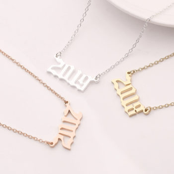 Custom Year Necklace Birth Year Necklace Gold Number Pendant