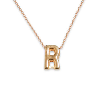 R For Romance R Necklace Custom Gold Initial Necklace