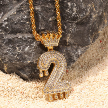 Custom Tiara Number Necklace Iced Out CZ Hip Hop Rope Chain Number Necklace