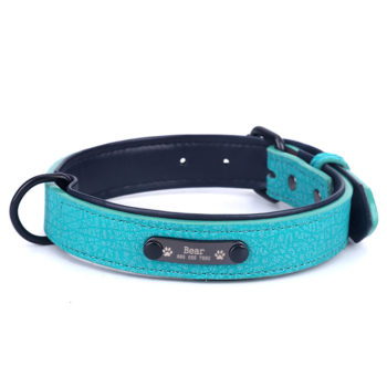 Custom Multicolor Leather Dog Collar with Name Personalized Leather Collar