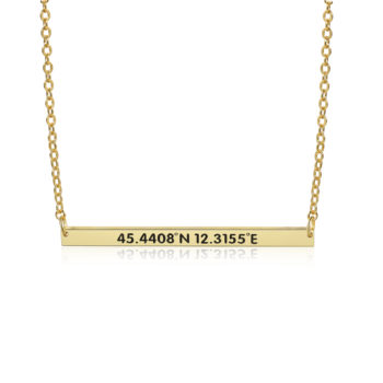 Necklace with Coordinates 14K Gold Coordinates Necklace