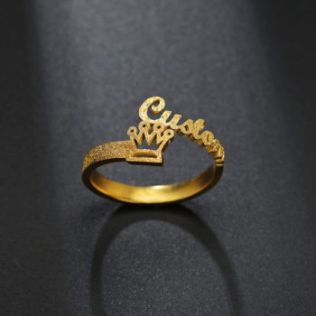Custom Frosted Gold Name Ring Gold Crown Name Ring Open Custom Name Rings