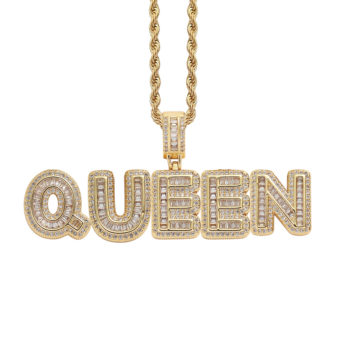 Micro-Set Zircon Gold Plated Name Necklace Rope Chain Name Necklace Gold
