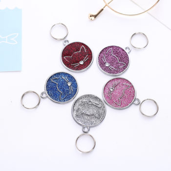 Personalized Kitty Face Tag Glitter Powder Dripping Oil Pendant Laser Engraving ID Tag Pet Supplies