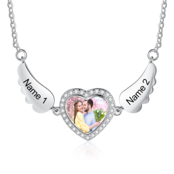 Angel Wings Heart Photo Necklace Custom Photo Necklace Picture Pendant with Wings