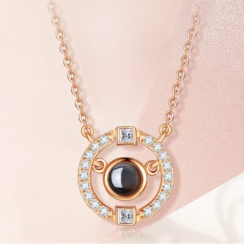 Custom Photo Pojection Necklace S925 Silver Ring Pendant Personalized Nano Engraving Necklace