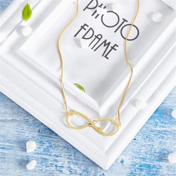 Infinity Necklace with 2 Names Custom Birthstone Necklace