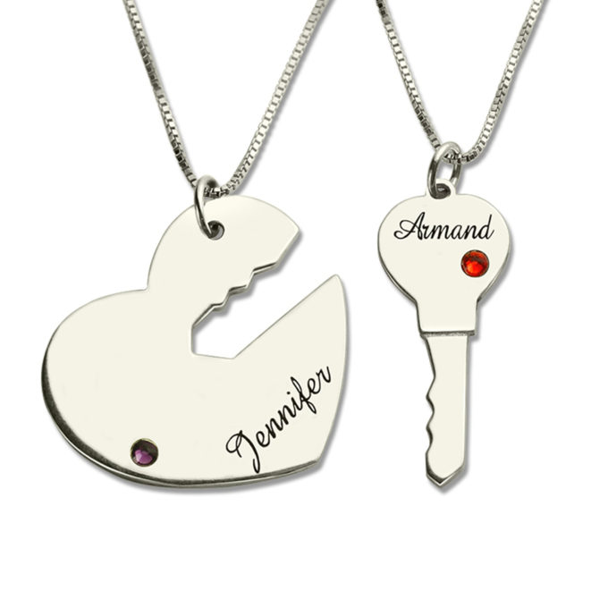 Customized Key & Heart Pendants Two Names Necklace with Birthstone Personalized Couple Jewelry