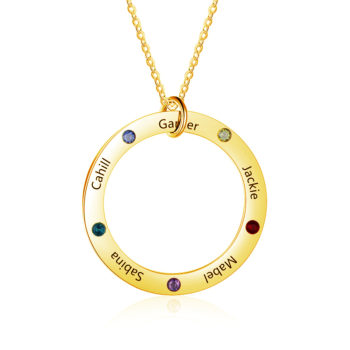 Necklace with Name on it Linked Circle Engraved 5 Names Birthstone Necklace