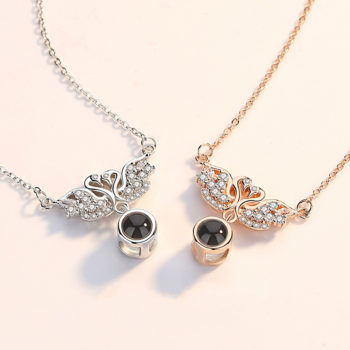 Double Swan Projection Photo Necklace Personalized Memorial Necklace