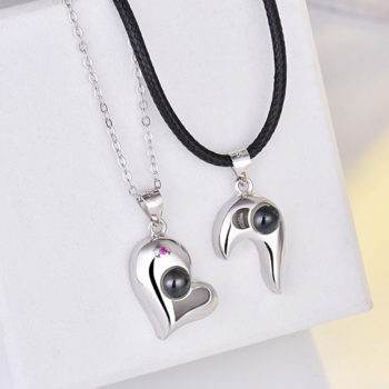 Dual Heart Matching Necklace Custom Photo Projection Necklace Chain with Picture