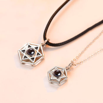 Six-pointed Star Custom Photo Projection Pendant Necklace Set