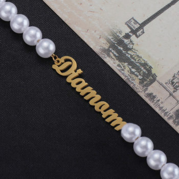 Custom Name Pearl Necklace Personalized Name Necklace