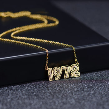Custom Birth Year Necklace Personalized Number Necklace Gold