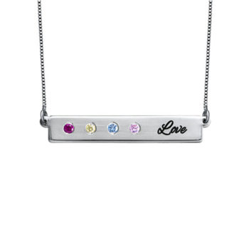 Custom Horizontal Bar Necklace Sterling Silver Necklace with Birthstones