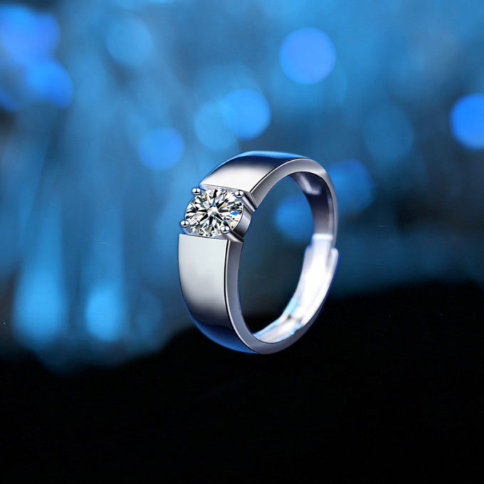 Engagement Ring Custom Name Ring with Mossanite Personalized Matching Rings